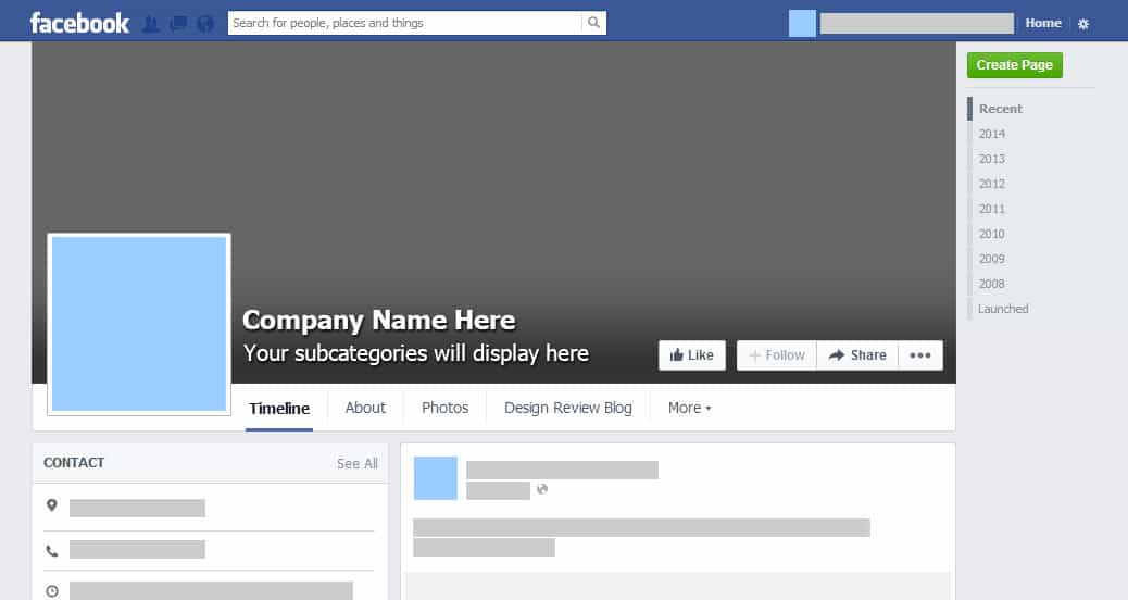 Facebook timeline profile template for Facebook page design template free